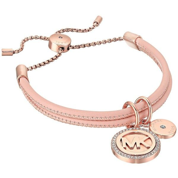 Michael Kors Micro Muse Leather Slider Bracelet (Rose Gold) Bracelet ($85) ❤ liked on Polyvore featuring jewelry, bracelets, rose gold jewellery, rose gold jewelry, rose charm, rose gold charms and michael kors bangles