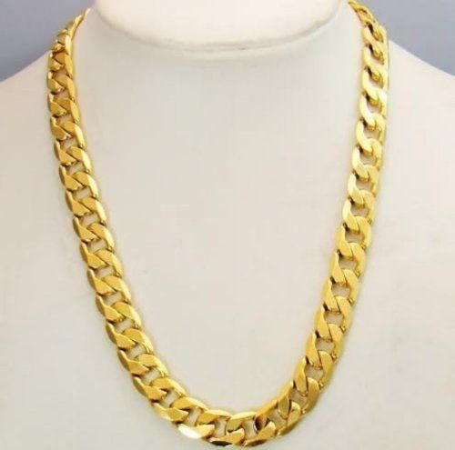 7 best gold chains images on pinterest gold chains for men and 24 12mm 24k yellow gold plated mens necklace pendants curb chain jewelry aloadofball Image collections