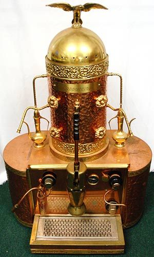 Brass is a common element in both industrial and steampunk design. For example this vintage Italian espresso machine