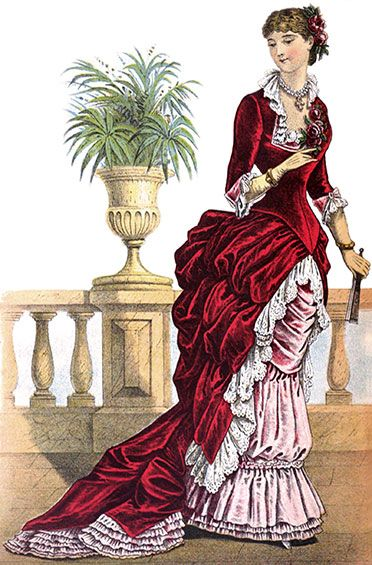 a bustle evening dress may come as fancy as this cartoon