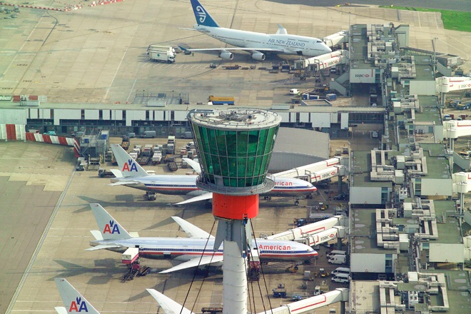 An aerial photograph of the Control Tower at London's Heathrow Airport