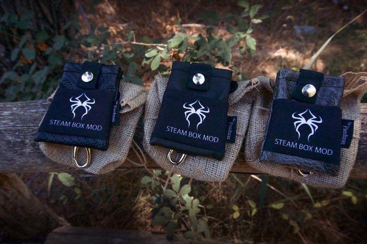 Pandoras belt pouches, black carbon , black raincoat finish and vintage, Steam Box Mod logo