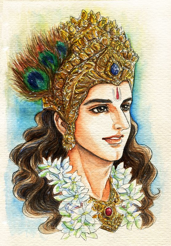 Fanart of Krishna,Mahabharat,by Snowcandy.CC:BY-NC-ND