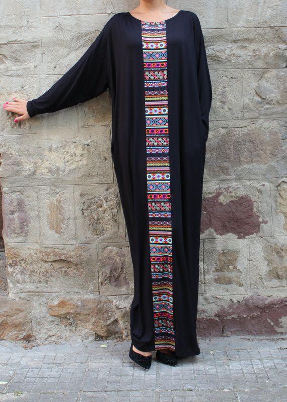 Black caftan, Maxi dress, Plus size dress, kaftan, Abaya, Oversized dress, Aztec Dress, Woman dress, Casual dress, Long Dress