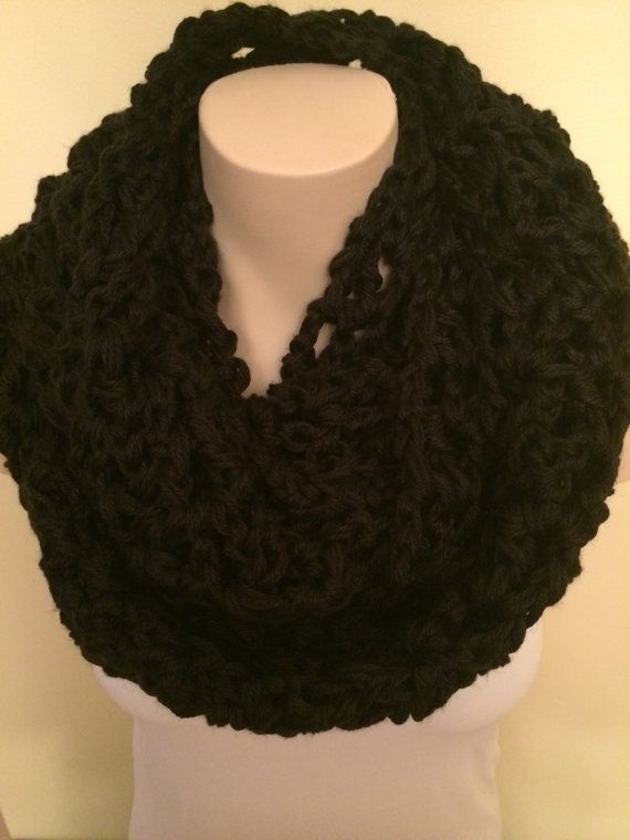 iScarf  Long Crocheted Infinity Scarf  Black by iHooked on Etsy, $30.00