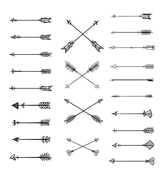 Doodle Tribal Arrows Clipart: 23 vector arrows by BlackCatsMedia                                                                                                                                                      Mais