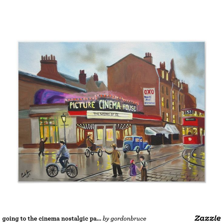 going to the cinema nostalgic painting poster