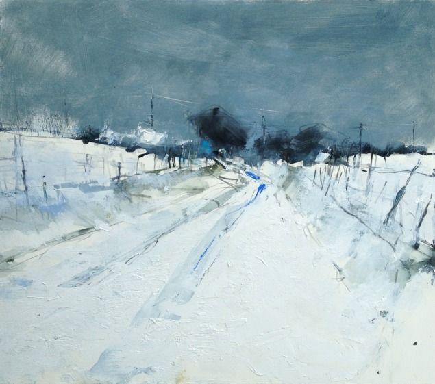 Hannah Woodman - Snow Study, Cornish Farm Oil and pencil on paper 39cm x 44cm £925 mixed media Pencil and oil on paper Hannah Woodman, British Landscape painter