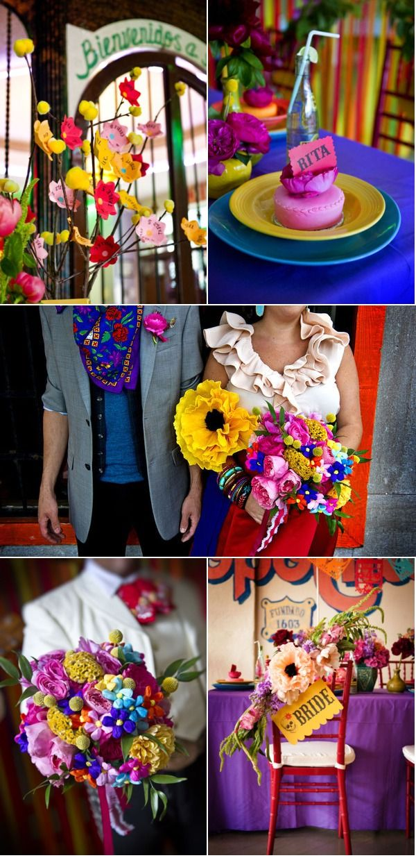 Incredibly gorgeous Mexican themed wedding -- mini cakes topped with paper flowers used as name cards and the most colorful bouquet ever