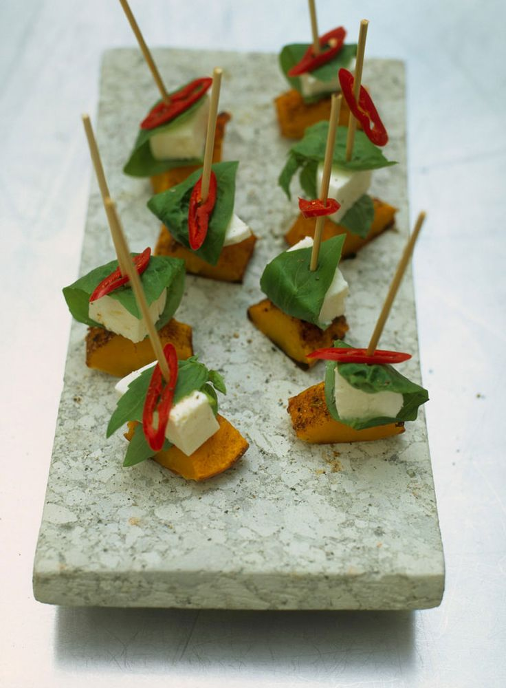 Mozzarella and squash skewers recipe mozzarella and for Canape recipes jamie oliver