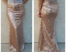 Blush Champagne Pink/Gold Maxi - Gorgeous high quality sequins- Long sequined skirt - S, M, L, XL (Handmade in LA!)