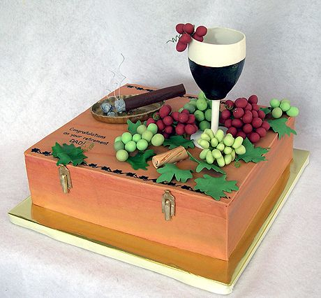 Wine And Cigar Cake Cake Grooms Cake Pinterest