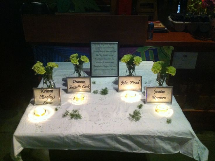 In Memory Of table I did for my 20 year high school reunion