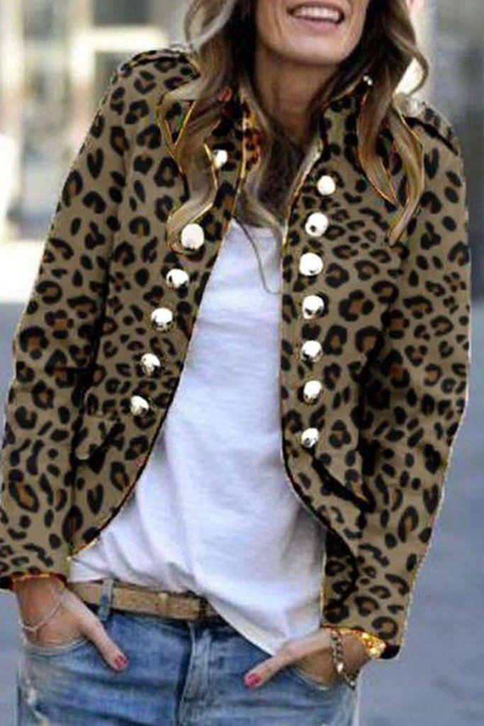 b57a0ed099e7 Fashion Leopard Print Double-Breasted Coat in 2019