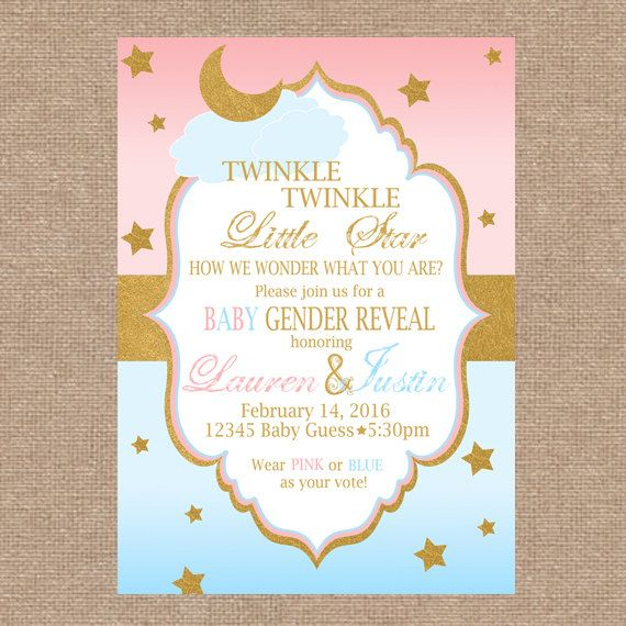 Baby Gender Reveal Invitation Twinkle Twinkle by KendyllRaes