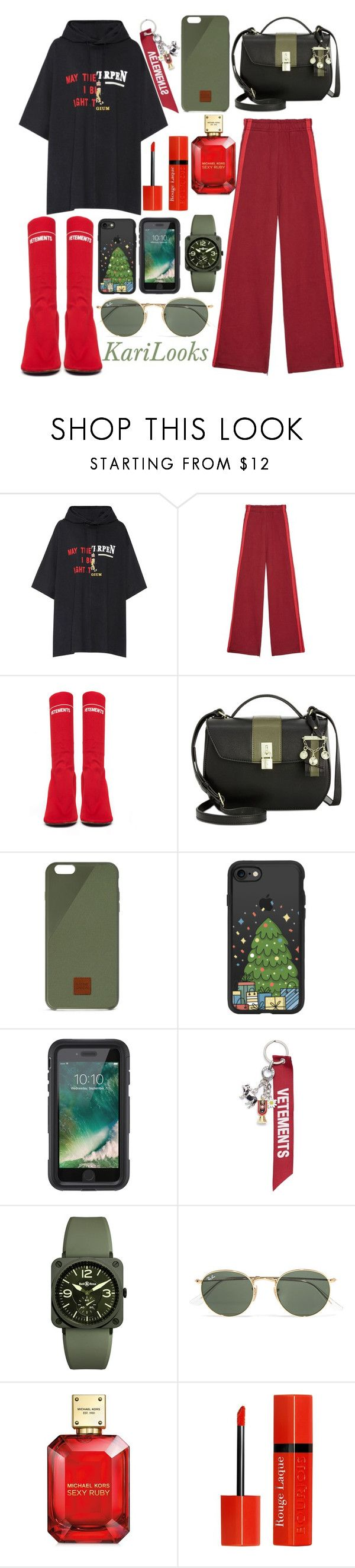 """Vetements"" by karilooks ❤ liked on Polyvore featuring Vetements, Nine West, Native Union, Casetify, Griffin, Bell & Ross, Ray-Ban, Michael Kors and Bourjois"