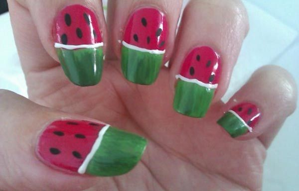 Diseños de uñas de sandía, diseño de uñas de sandía acrilicas. Clic Follow,  #diseñouñas #instanails #uñasfinas