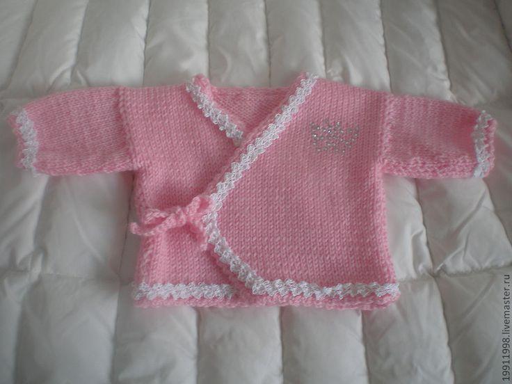 Купить Комплект Розовая нежность - бледно-розовый, однотонный, комплект, Кофточка вязаная, шапочка вязаная