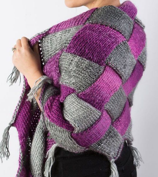 Free Knitting Pattern and Class for Entrelac Shawl - Pattern and instructional video class available for free with a free trial at Creativebug. This cozy shawl is the perfect place to start your entrelac adventure. Working in two colors, Marly Bird demonstrates how to knit a single rectangle, then how to join and build rectangles to create the eye-catching checkerboard pattern. Designed by Marly Bird who teaches the class.