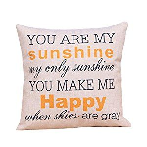 """Amazon.com: Iuhan® Fashion """"You are my Sunshine """"Cotton Linen Leaning Cushion Throw Pillow Covers Pillowslip Case (B): Home & Kitchen"""