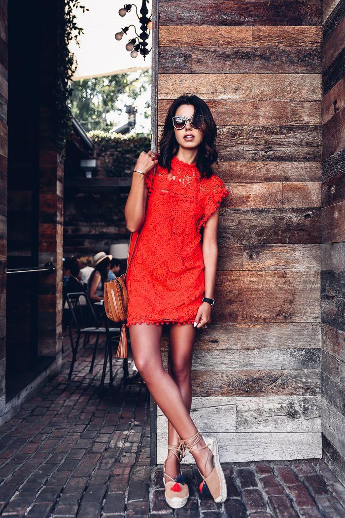 TULAROSA Clayton tunic dress via REVOLVE | SOLUDOS Platform gladiator lace-up espadrilles | CHLOE small Inez bag | Jayme cat-eye gold tone sunglasses | LARSSON & JENNINGS Lugano leather strap watch
