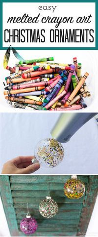 FUN ornament idea! So colorful! DIY christmas ornament melted crayon art from heatherednest.com