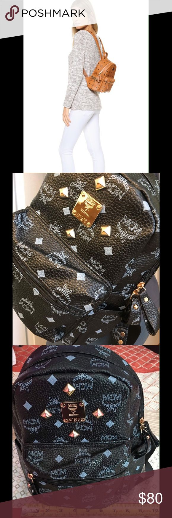 """Backpack mini/ kiddie size mcm Selling mini backpack for adults and kids. High quality. Price reflects #mcm# available in Black, navy blue, pink, beige and brown. $80 is the price for 1 backpack.  PLEASE CHECK CAREFULLY THE SIZE OF THIS BAG. W: 9"""" and Height is 12"""". MCM Bags Backpacks"""