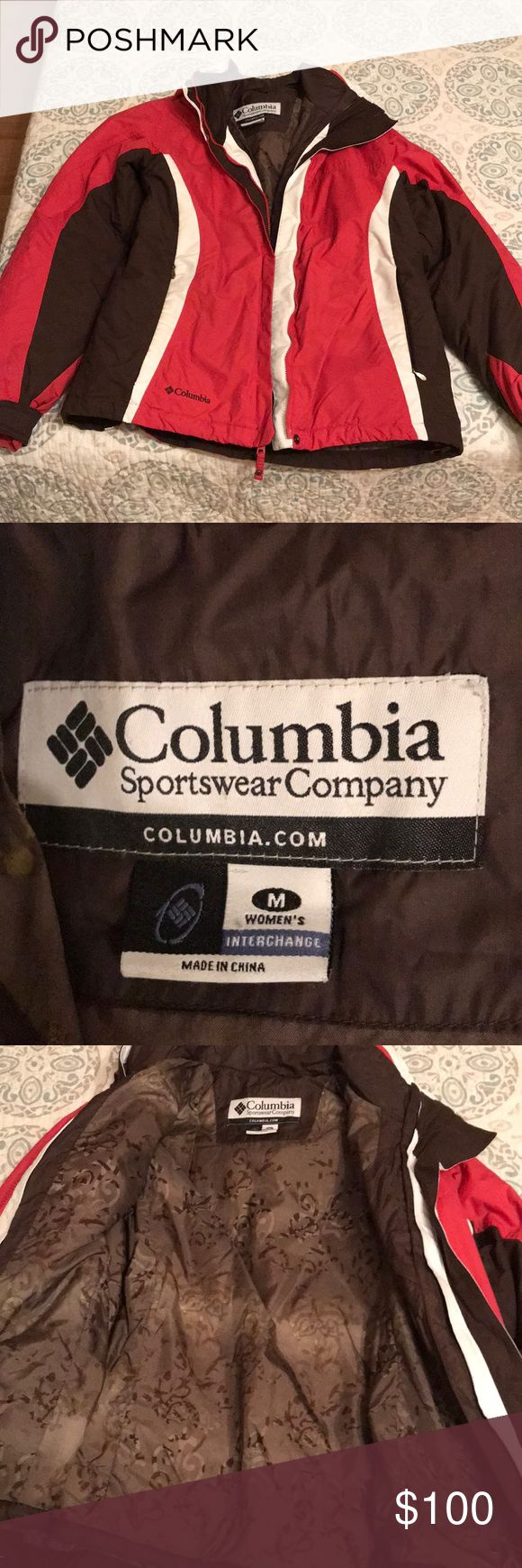 Columbia Interchange Coat size Medium This coat is pink and brown. You can detach the hood and you can detach the inner liner from the outer for the fall or spring. I recently had it dry cleaned so it is like new. All of the zippers work and there are no stains or rips. Columbia Jackets & Coats Utility Jackets
