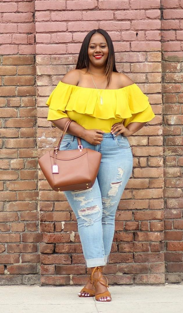 5e2f63d5b7b Ripped jeans and a yellow off the shoulder shirt with down heels. Visit  Daily Dress Me at dailydressme.com for more inspiration. women s fashion  2018