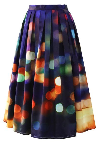 Modest knee length printed lights midi skirt | Mode-sty #nolayering