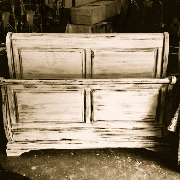 sleigh bed with a little distress look