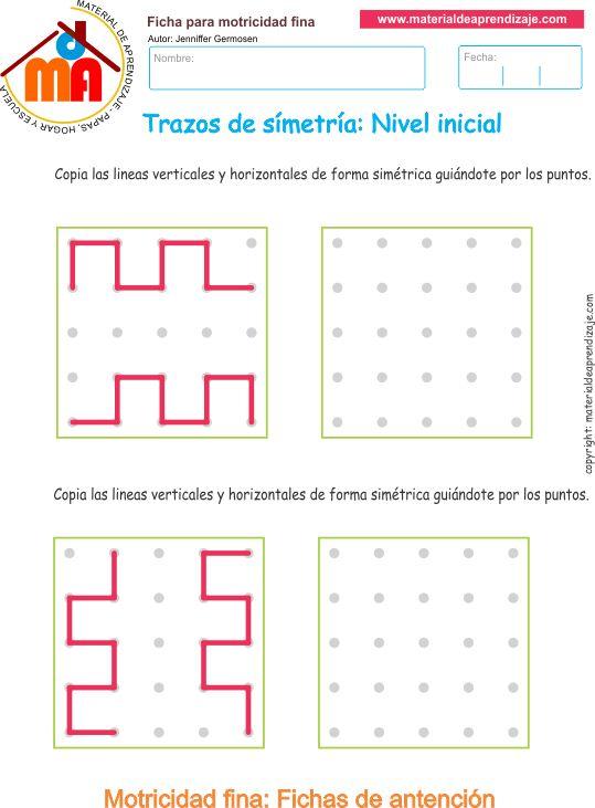 Trazos de simetría ejercicio 3. Copia las líneasverticales y horizontalesde forma simétrica guiándote por los puntos.