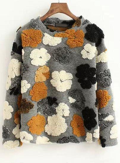 sweat-shirt imprimé fleur col rond -gris