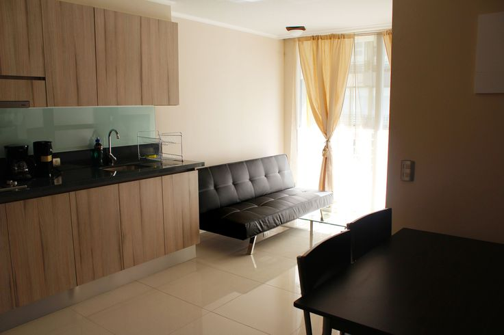 living, dining and kitchen  of the apartment we rent in Santiago de Chile www.internshipandtravel.cl o mail a info@internshipandtravel.cl