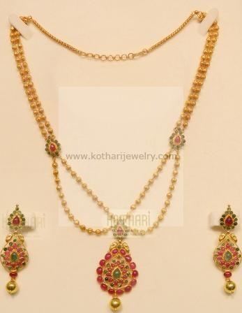 Gold Necklace - 22kt Bridal Kundan Pearl Necklace Set, Meenakari Long 22kt Gold Necklace Set, Light weight long bridal haram 22kt gold