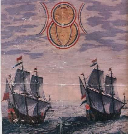 Illustration depicts a sighting by two Dutch ships in the North Sea of an object moving slowly in the sky. It appeared to be made by two disks of different size. The source for this account is one of the books entitled Theatrum Orbis Terrarum by Admiral Blaeu. These books were compilations of articles by different authors and consisted of detailed accounts of long engagements at sea, cartography information.: