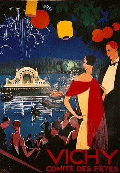 "Roger Broders vintage travel poster for the city of Vichy, in France. ""Comité des Fêtes"""