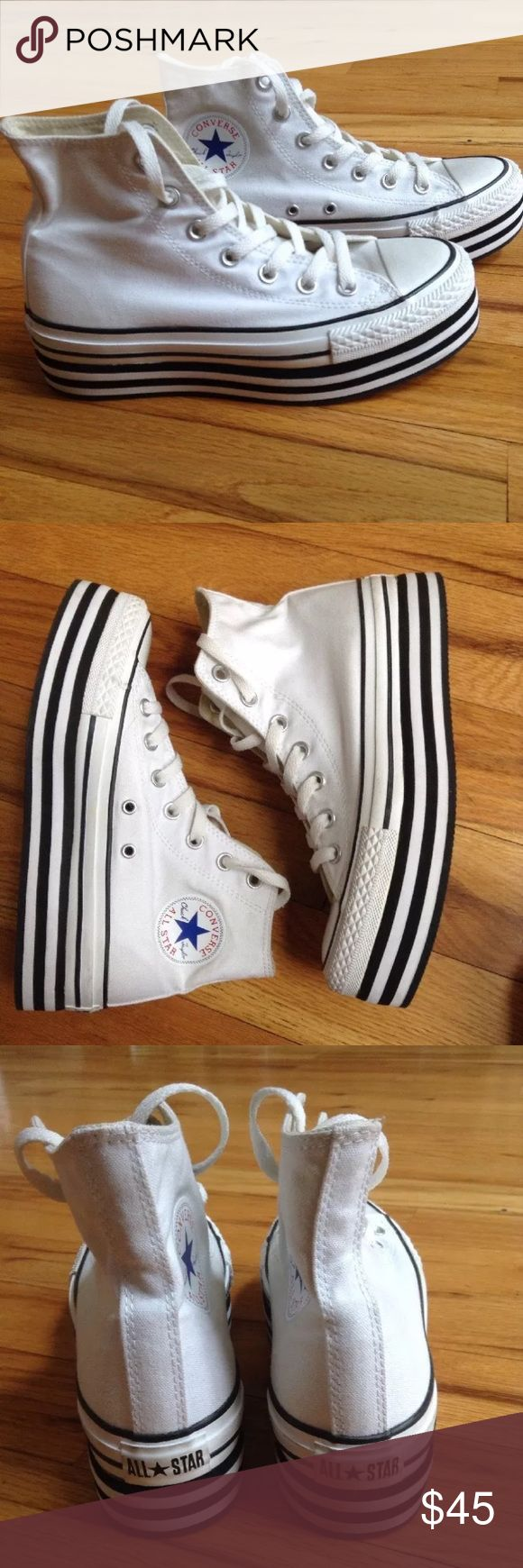 Platform converse chuck taylor shoes white W 7 M 5 White converse platform shoes. Size is men's 5, women's 7. Barely worn. Rare. Smoke free home. Converse Shoes Platforms