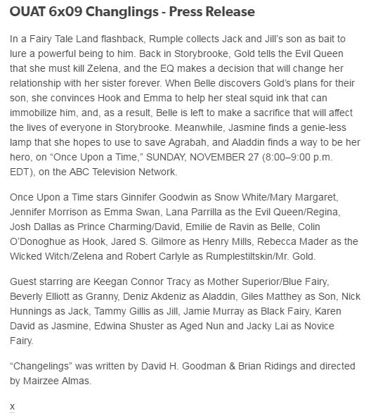 OUAT 6x09 Changlings - Press Release