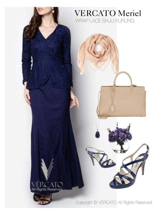 """VERCATO Meriel Baju Kurung Moden""in navy blue and also available in mint green. SHOP NOW: http://www.vercato.com/VERCATO-MERIEL-WRAP-LACE-BAJU-KURUNG-NAVY"