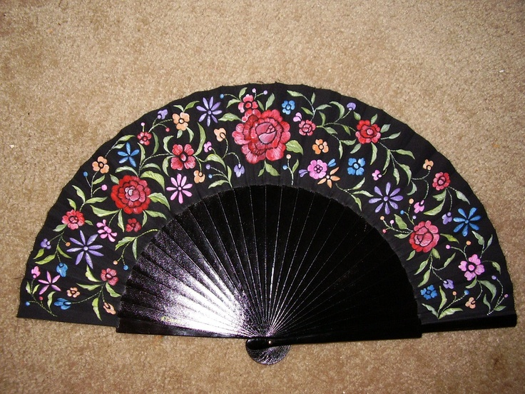 Spanish fan, Hand painted by Eloisa Duran.
