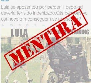 O mito do dedo de Lula e as mentiras na internet   Os Amigos do Presidente Lula