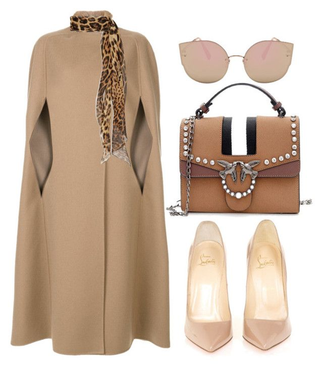 """Nude"" by cecycecy-cccxx ❤ liked on Polyvore featuring Agnona, Christian Louboutin and Yves Saint Laurent"