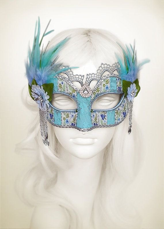 Blue & Green Masquerade Mask With Silver Embellishments - Blue Lace Venetian Mask - Feathered Lace Masquerade Ball Mask