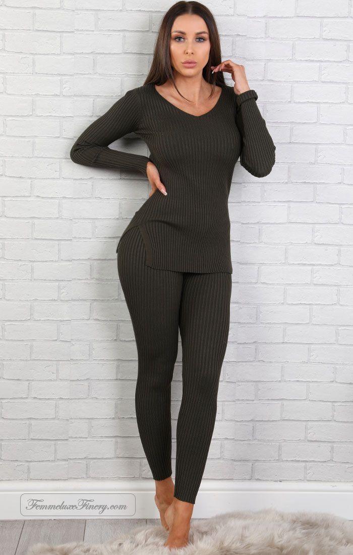Khaki Ribbed Loungewear Set - donna - femmeluxefinery https://www.femmeluxefinery.co.uk/khaki-ribbed-loungewear-set-donna.html #femmeluxefinery #shopping #cheap #online #uk #dress #Loungewear #Khaki #ribbed #two_piece_set