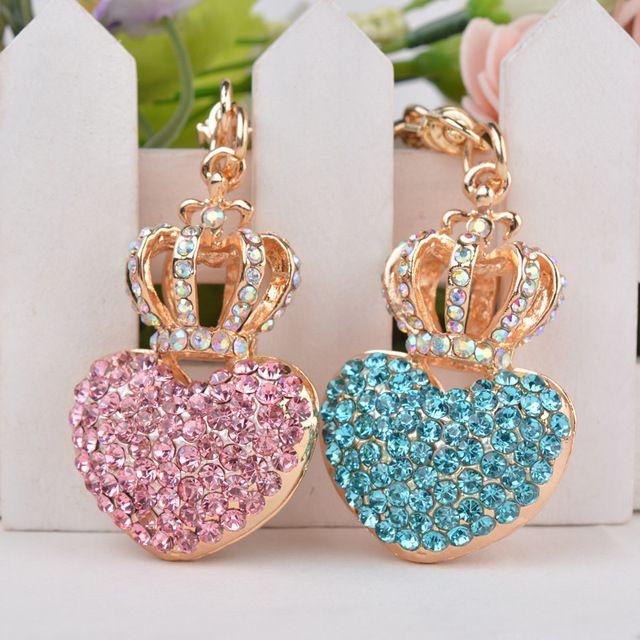 Moda Saco da Forma Do Coração de Cristal Charme Para As Mulheres Rosa Rhinestone Chapeamento de Ouro do Anel Chave Chaveiro Coroa