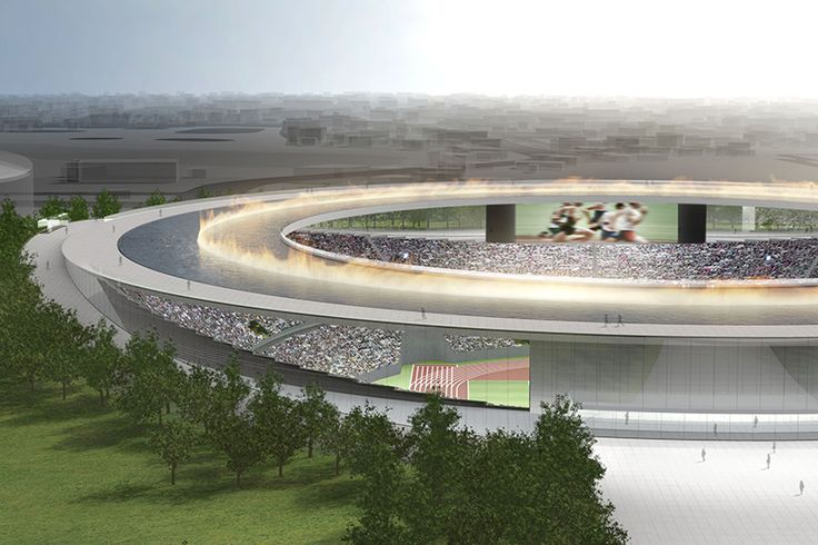tokujin yoshioka reenvisions tokyo's olympic stadium with floating fountain