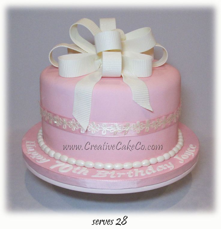 Pink 70th Birthday Cake With White Bow By Creative Cake Co