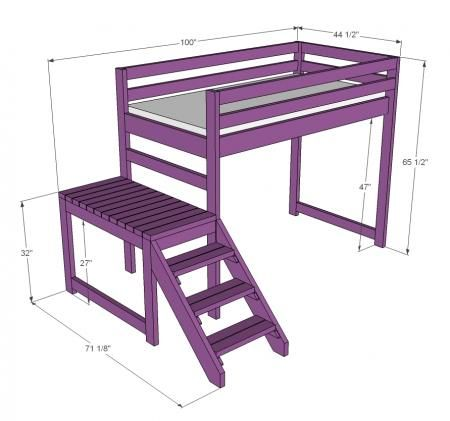 Camp Loft Bed with Stair, Junior Height (I'd want to add a slide on the opposite end from the stairs, a platform on the bottom with a rolling trundle under the platform. so there's room to play AND still an extra bed.)