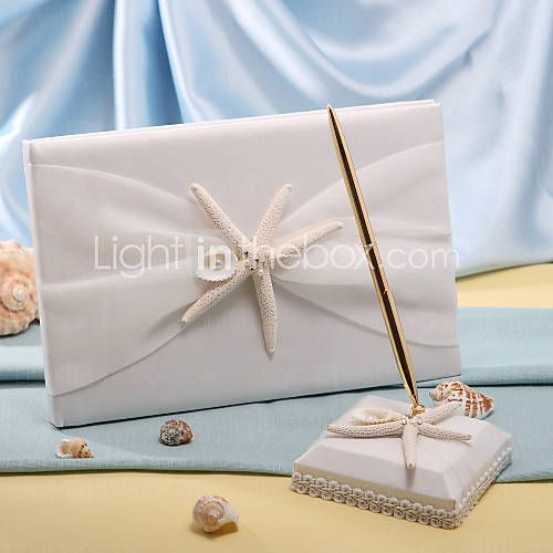 [USD $ 33.94] Starfish & Sea Shell Beach Themed Wedding Guest Book and Pen Set $33.94